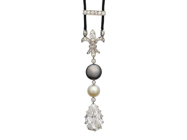 A belle époque pearl and diamond pendant,