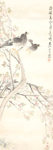 A vertical format scroll painting 19th century