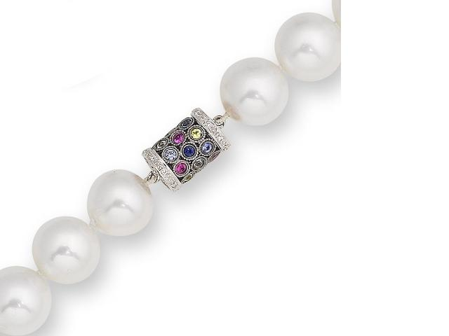 A cultured pearl necklace with gem-set clasp