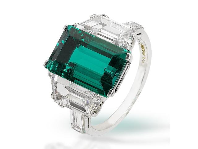 A fine emerald and diamond ring, by Bulgari