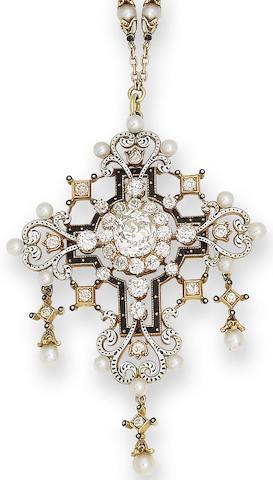 A diamond, enamel and pearl Renaissance revival pendant/necklace,