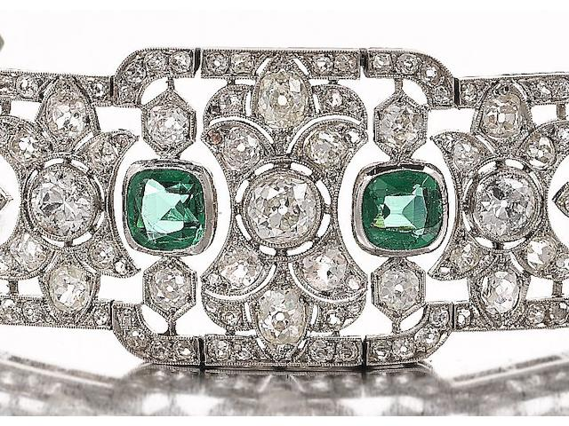 An early 20th century diamond and green paste choker/bracelet/brooch combination,