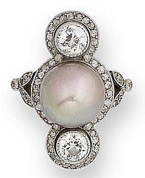 A belle époque pearl and diamond ring,