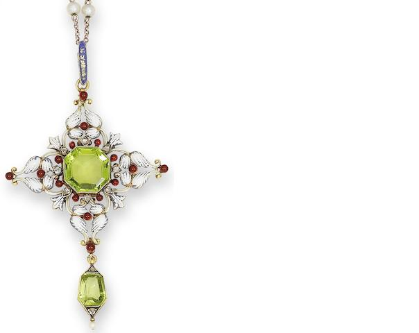 A late 19th century peridot, enamel and diamond pendant, by Carlo Giuliano,