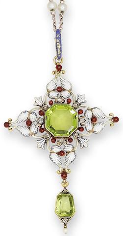 A late 19th century peridot, enamel and diamond pendant, by Carlo Giuliano,