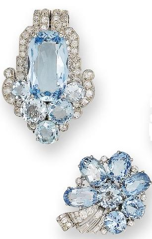 An art deco aquamarine and diamond clip brooch, by Cartier, and a pair of aquamarine and diamond earrings, (2)