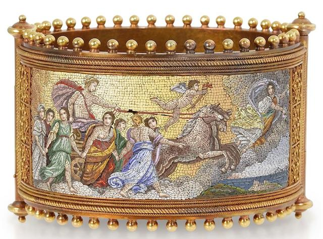 A mid 19th century gold and micromosaic hinged bangle,