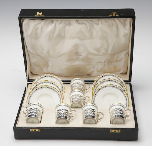 An cased Aynsley silver mounted coffee set Circa 1920