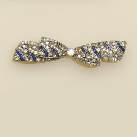 An early 20th century sapphire and diamond bow brooch