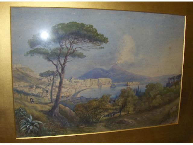 Admiral Sir Spencer Robinson (British) view of lake Como 32cm x 48cm,