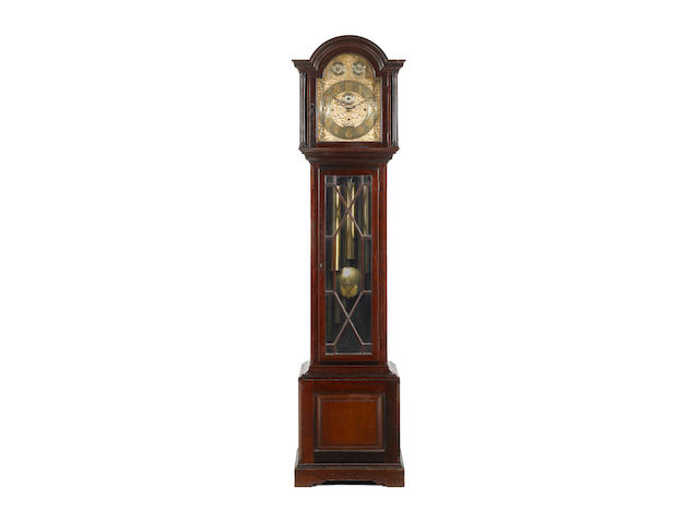 An early 20th century mahogany quarter chiming longcase clock F.W.Elliott Ltd. London