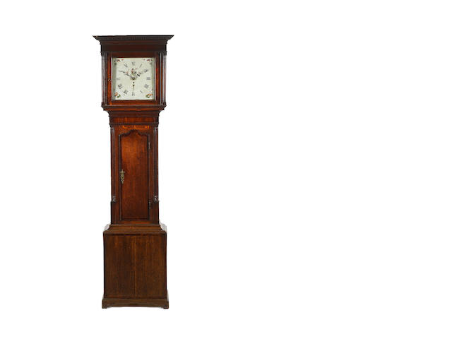A late 18th century mahogany-banded oak thirty-hour longcase clock  Jonas Barber, Winster