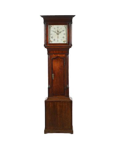A late 18th century mahogany-banded oak thirty-hour longcase clock  Jonas Barber, Winster