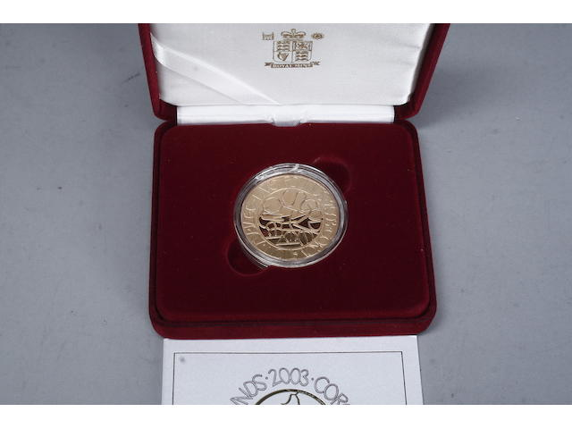 A Royal Mint 22ct gold Five pound coin 39.94 grams, in a red velvet case.