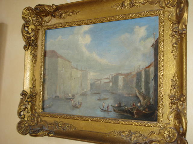 Follower of Turner Venetian canal scene