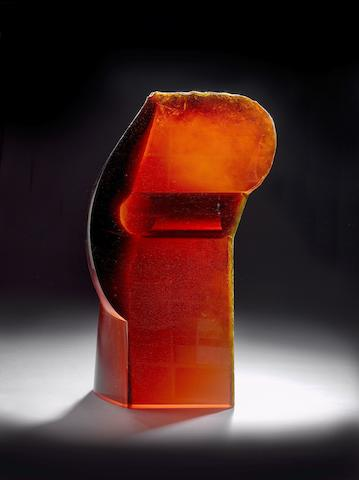 Stanislav Libensky (Czech, 1921-2002) and Jaroslava Brychtová (Czech, born 1924) 'Queen' a large and impressive red cast-glass sculpture, 2003