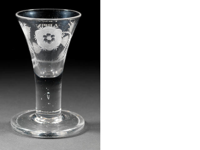 A rare engraved Jacobite firing glass Circa 1750.