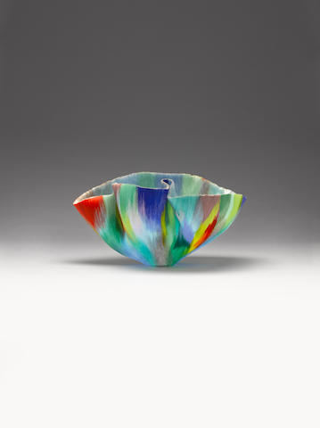 Toots Zynsky (American, born 1951) 'More Tropical Chaos' a sculptural glass Vessel form, 1999