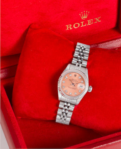 Rolex. A lady's stainless steel, white gold and diamond set automatic centre seconds calendar bracelet watch together with fitted boxDatejust, 1992