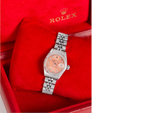 Rolex. A lady's stainless steel, white gold and diamond set automatic centre seconds calendar bracel