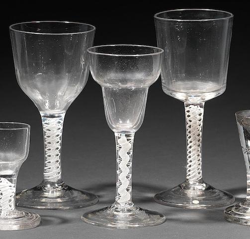 Three opaque-twist goblets Circa 1765.