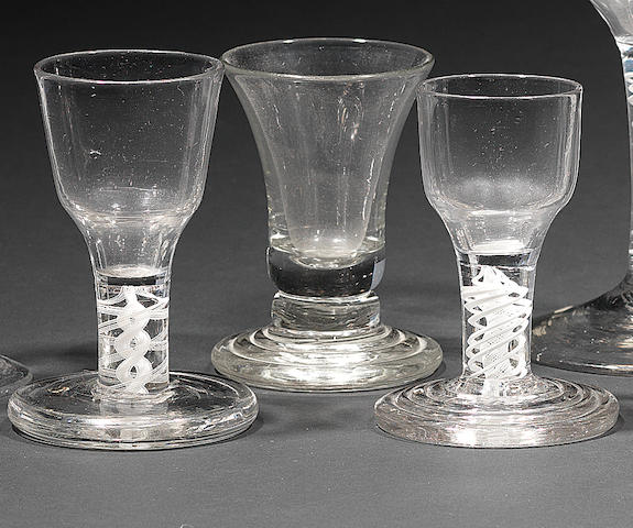 Three firing glasses Circa 1750-60.