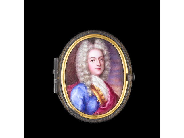 Daniel Gardelle (Swiss, 1679-1753) and Robert Gardelle (Swiss, 1682-1766) A rare portrait of a Gentleman, wearing blue coat with gold border and buttons, white lace cravat and red cloak, his curled wig worn long and powdered