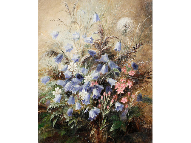 Albert Durer Lucas (British, 1828-1918) Harebells and Centaury; Erica Tetralix with a butterfly, a pair each 25 x 20.3cm (9 13/16 x 8in), (2).