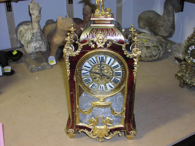 A French red boulle style gilt metal mounted mantel clock,