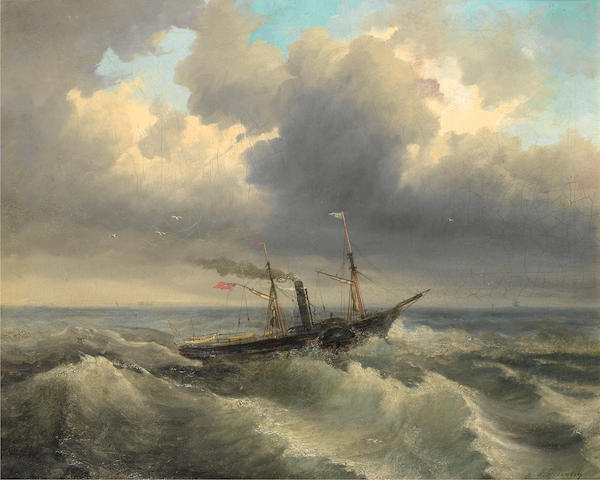 Attributed to Aleksei Petrovich Bogolyubov (Russian, 1824-1896) Shipping through rough waters