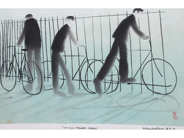 Mackenzie Thorpe (British, born 1956) 'See you Monday George' 50 x 70cm.