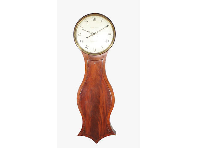 An oversized early/mid-19th century mahogany tavern type longcase wall clock