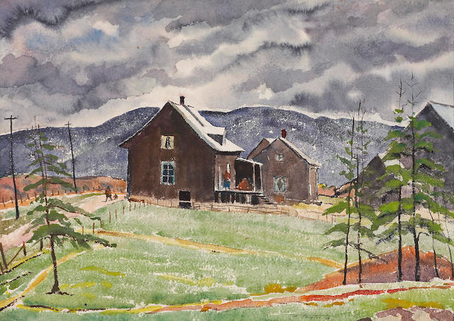 Frederick Bourchier Taylor , RCA (1906-1987) 'Quebec country road through the village' and 'Figures outside a Quebec farm'