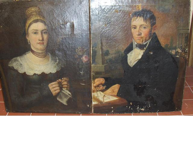 Austrian School, circa 1830 Portraits of a lady and gentleman, a pair of oils on canvas,