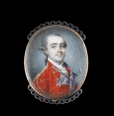 Luke Sullivan (Irish, 1705-1771) Colonel Wasey, wearing red coatee trimmed with gold braid and buttons, blue lapels and frilled white chemise, his powdered hair worn en queue