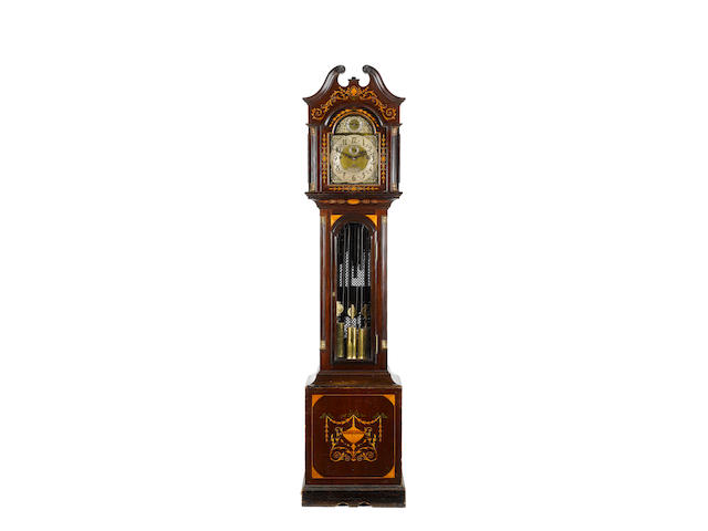 An Edwardian inlaid mahogany quarter chiming longcase clock Marcus Falk, 82 Grey Street, Newcastle-o