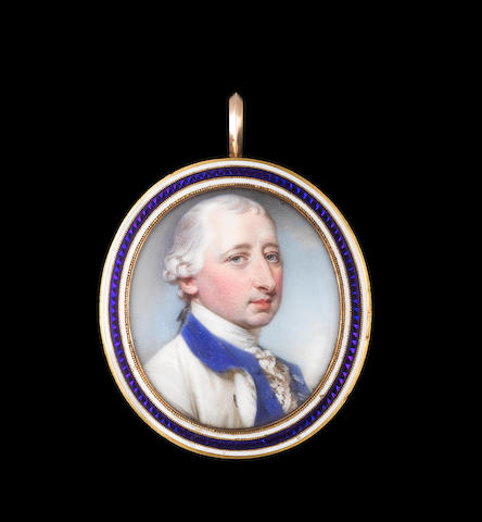 Jeremiah Meyer, RA (British, 1735-1789) Josiah Martin (1737–1786), wearing white coat with blue collar and lining, matching blue waistcoat, frilled white chemise and powdered wig worn en queue