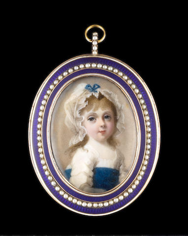 Abraham Daniel (British, died 1806) A child, traditionally called Princess Charlotte Augusta, wearing white dress with wide blue sash and frilled white bonnet tied with blue ribbon bow