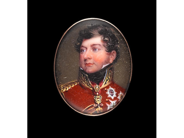Henry Bone, R.A. (British, 1755-1834) George IV (1762-1830), as Prince Regent, wearing Field Marshal's scarlet uniform with gold epaulette and collar and tied black stock, the Order of the Golden Fleece around his neck and the breast stars of the Order of the Garter, St Andrew, Black Eagle and Holy Spirit pinned to his breast