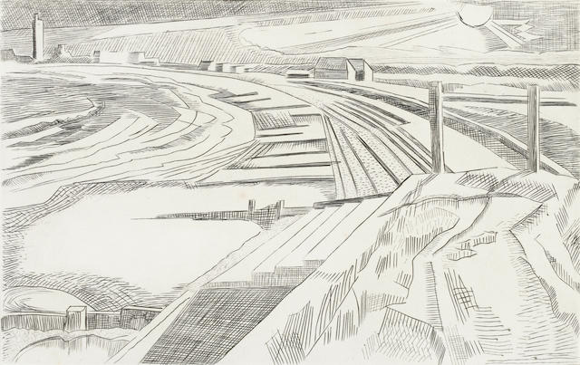Paul Nash (British, 1889-1946) The Wall - Dymchurch Engraving, c1923, on TH Saunders mould-made pape