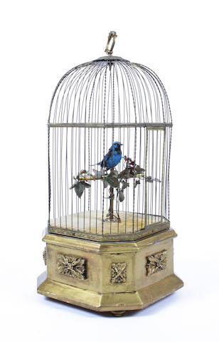 A singing bird-in-a-cage, probably by Bontems