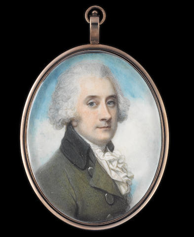 Richard Cosway, RA (British, 1742-1821) A Gentleman, wearing moss-green coat with grey collar, and covered buttons, white waistcoat and frilled cravat, his hair powdered