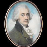 Richard Cosway, RA (British, 1742-1821) A Gentleman, wearing moss-green coat with grey collar, and c