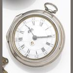 Tarts. A mid to late 18th century pair case pocket watch with date aperture London Hallmark for 1764