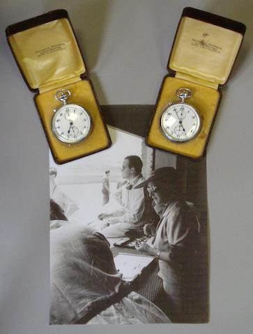 A pair of Louis Berney timekeeper's chronographic stopwatches, presented to Alice Caracciola by Enzo Ferrari,