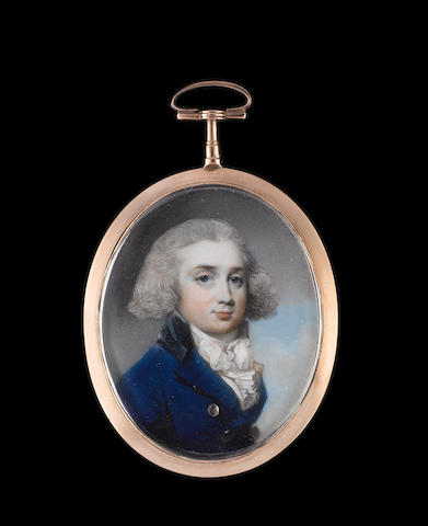 George Engleheart (British, 1750-1829) A Gentleman, wearing blue coat with black collar and brass buttons, over white waistcoat and frilled white cravat, his hair powdered