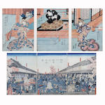 After Kunichika  Two actors in the role of Samurai  I. 35.5 x 23.5cm (each)