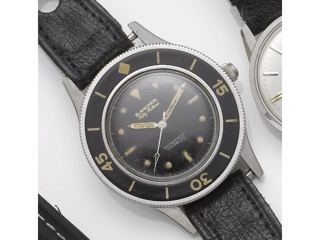 Blancpain. A stainless steel centre seconds wristwatch Rotomatic Incabloc, Fifty Fathoms, 1960's