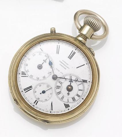 Gurzelen. A late 19th century silver open face chronometer pocket watch with second time zoneNo.12 172
