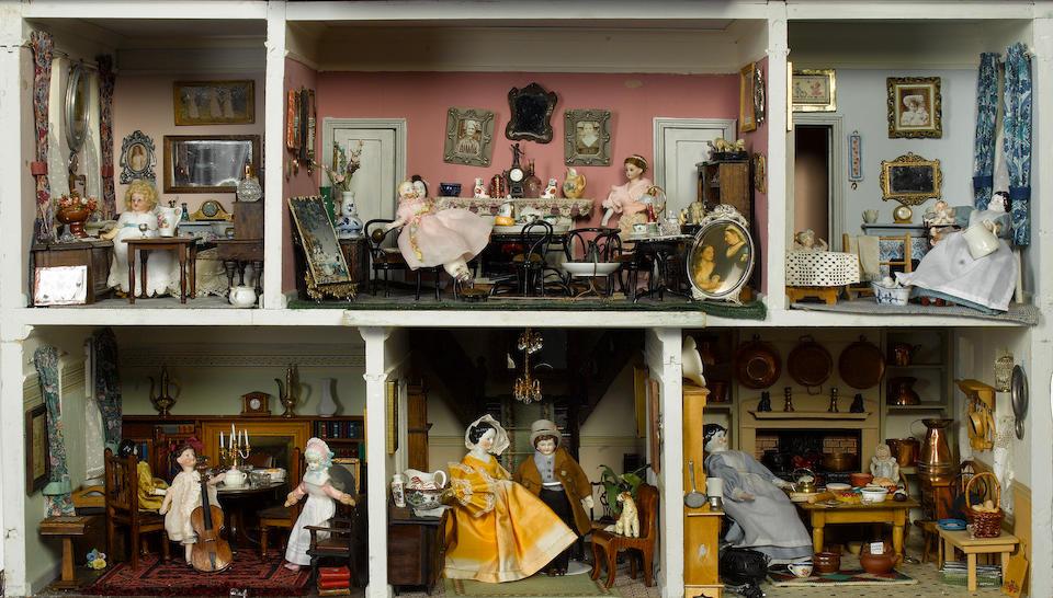 Large Tudor style painted wooden dolls house
